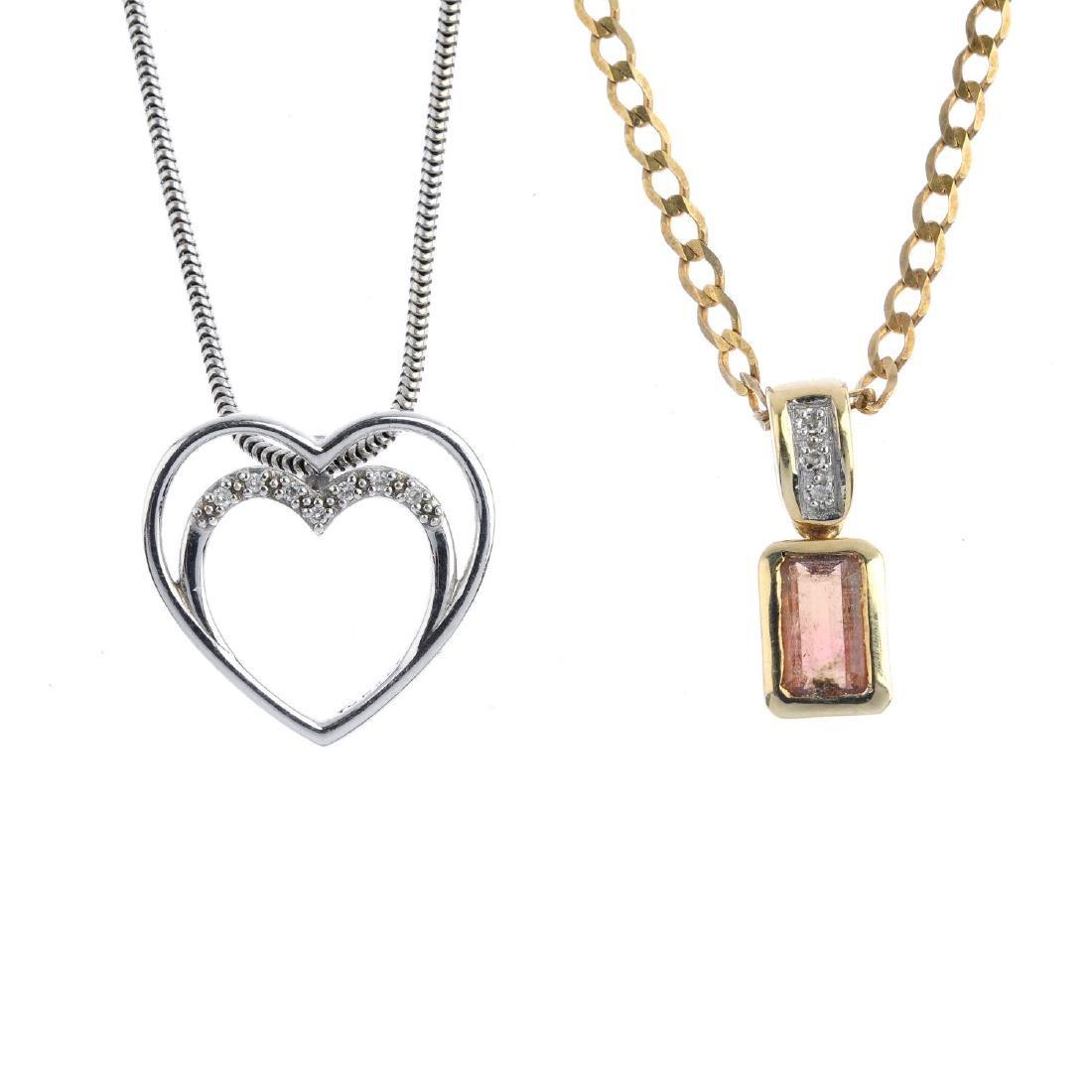 Two 9ct gold diamond and tourmaline pendants. To