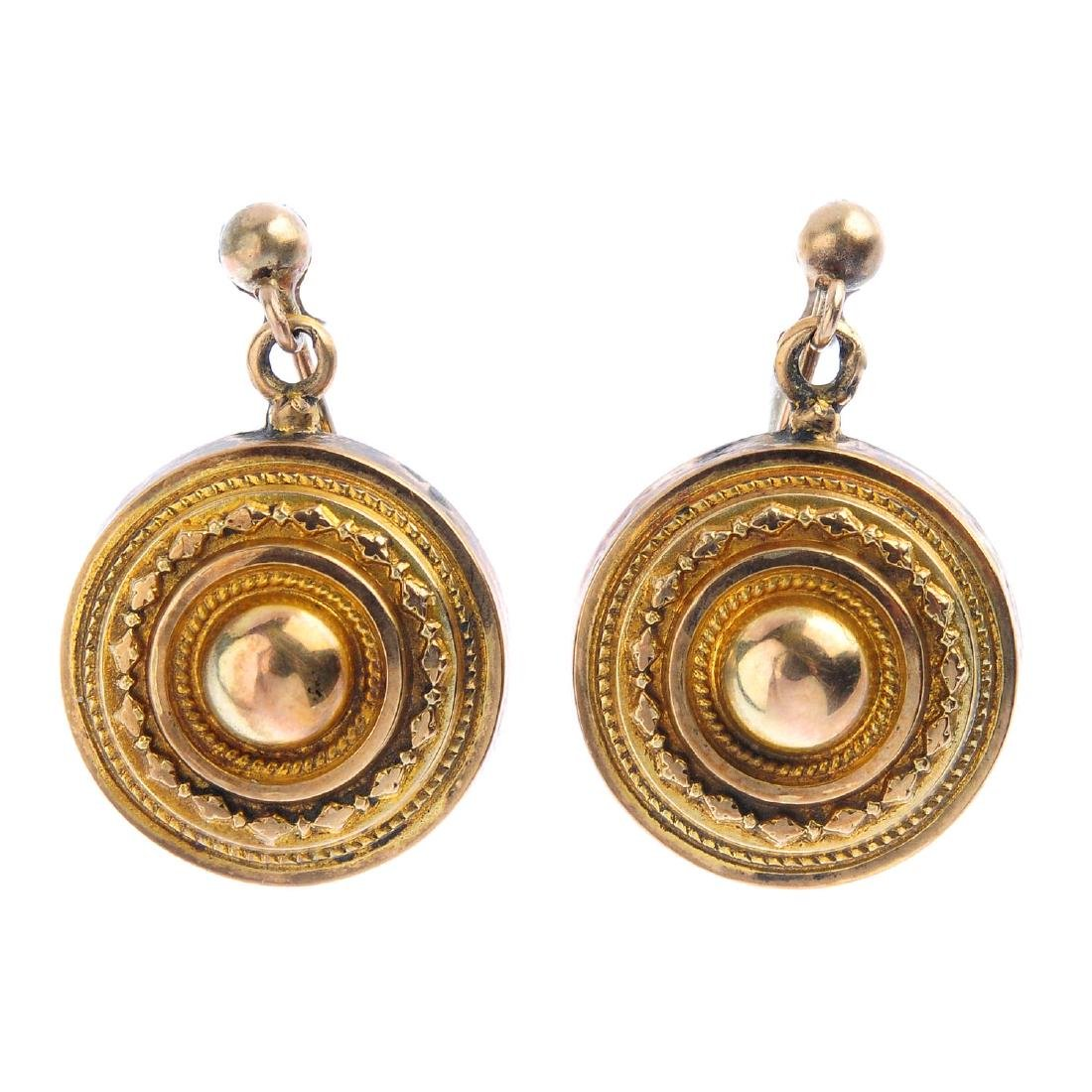 A pair of late Victorian earrings. Each designed as a