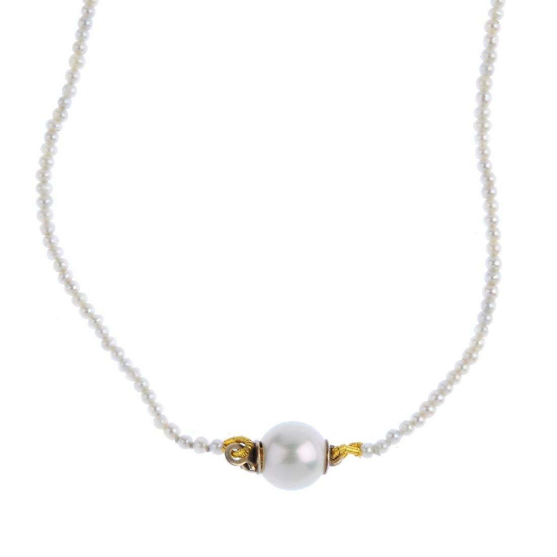 A seed pearl single-strand necklace. Comprising