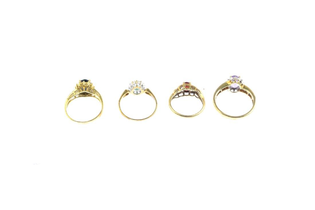 Four diamond and gem-set rings. To include a 9ct gold - 4