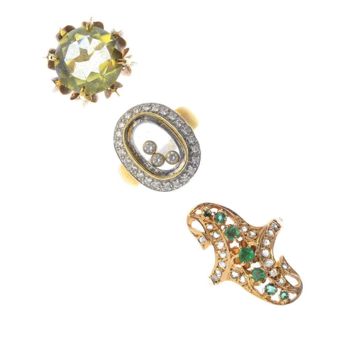 Three gem-set dress rings. To include a 9ct gold