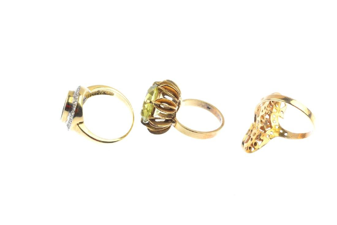 Three gem-set dress rings. To include a 9ct gold - 2