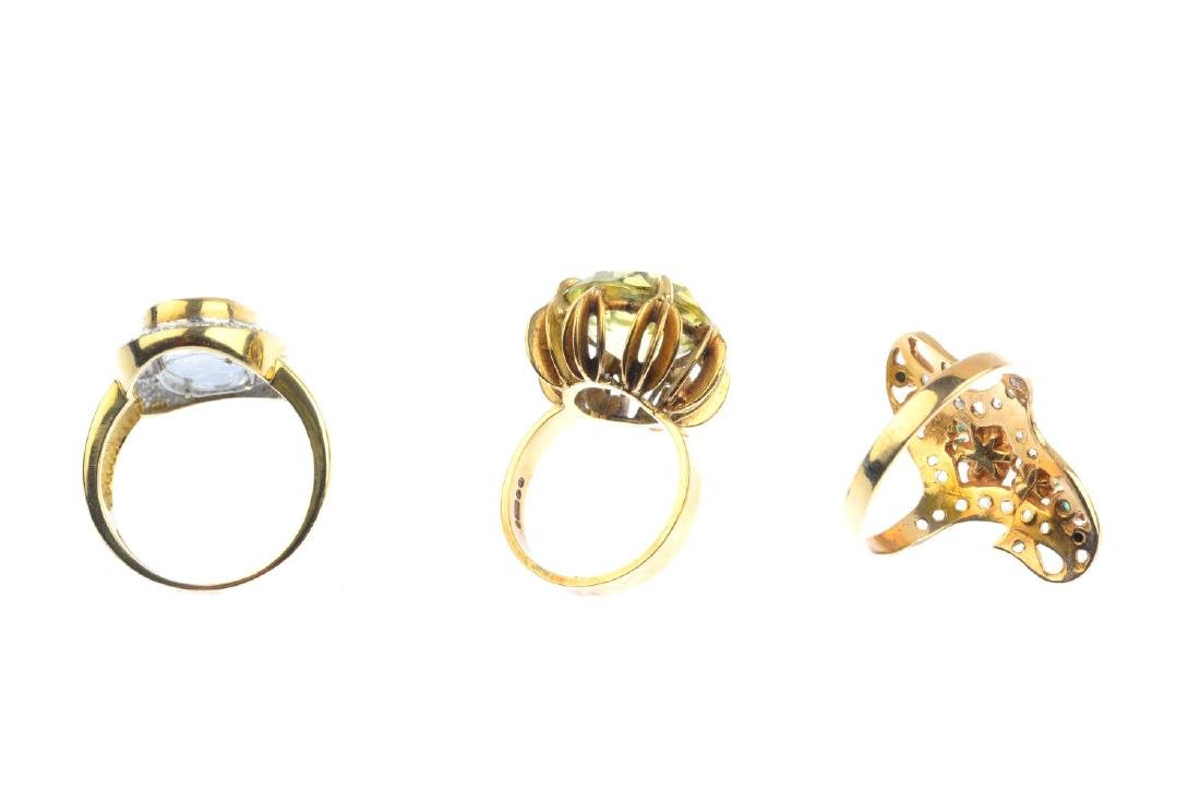 Three gem-set dress rings. To include a 9ct gold - 3