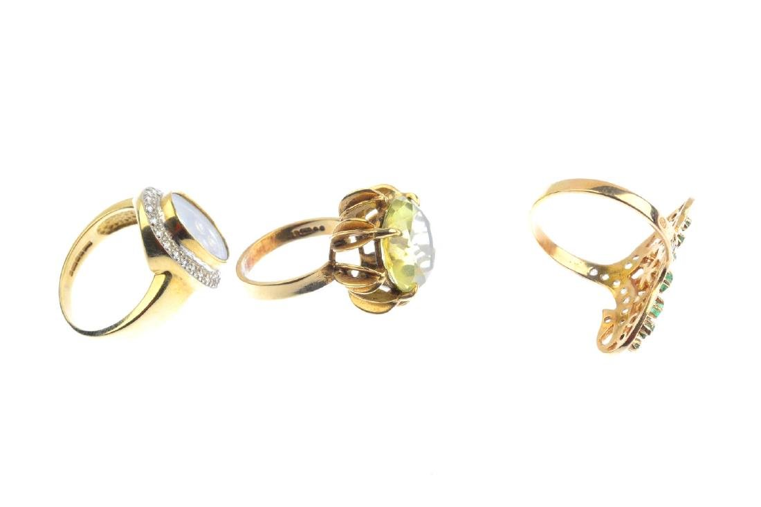 Three gem-set dress rings. To include a 9ct gold - 4