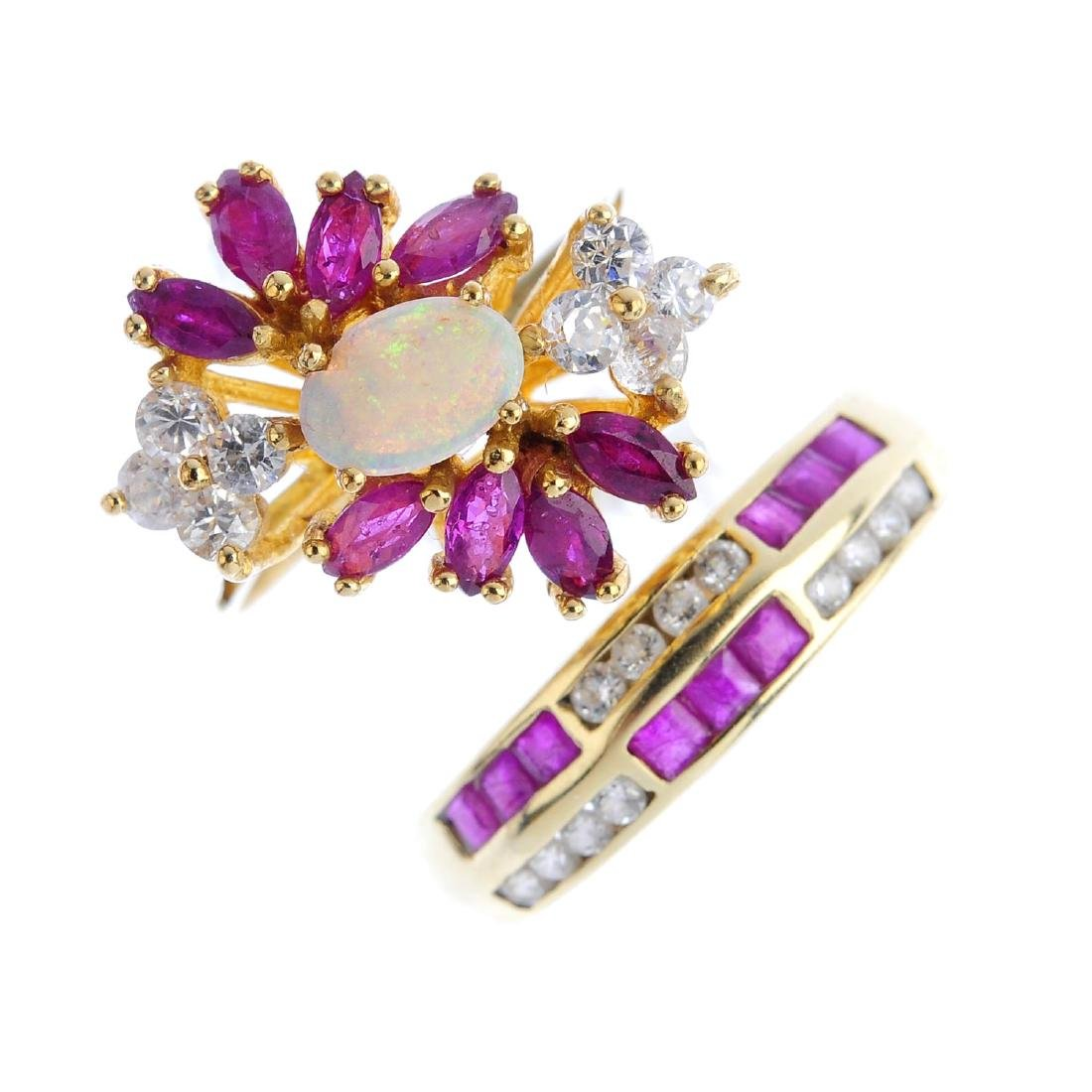 Two ruby, cubic zirconia and opal rings. To include an