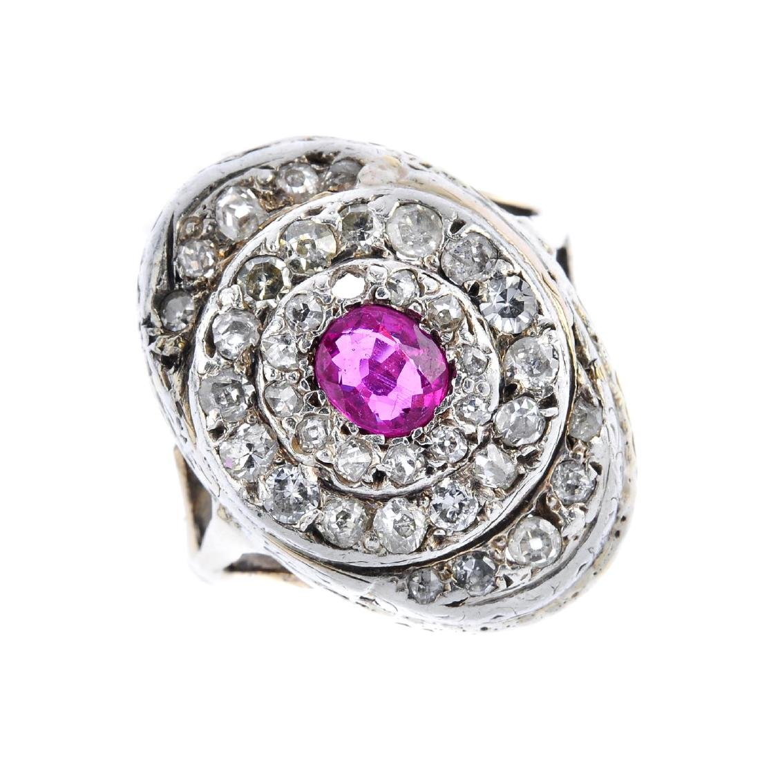 An early 20th century ruby and diamond ring. The