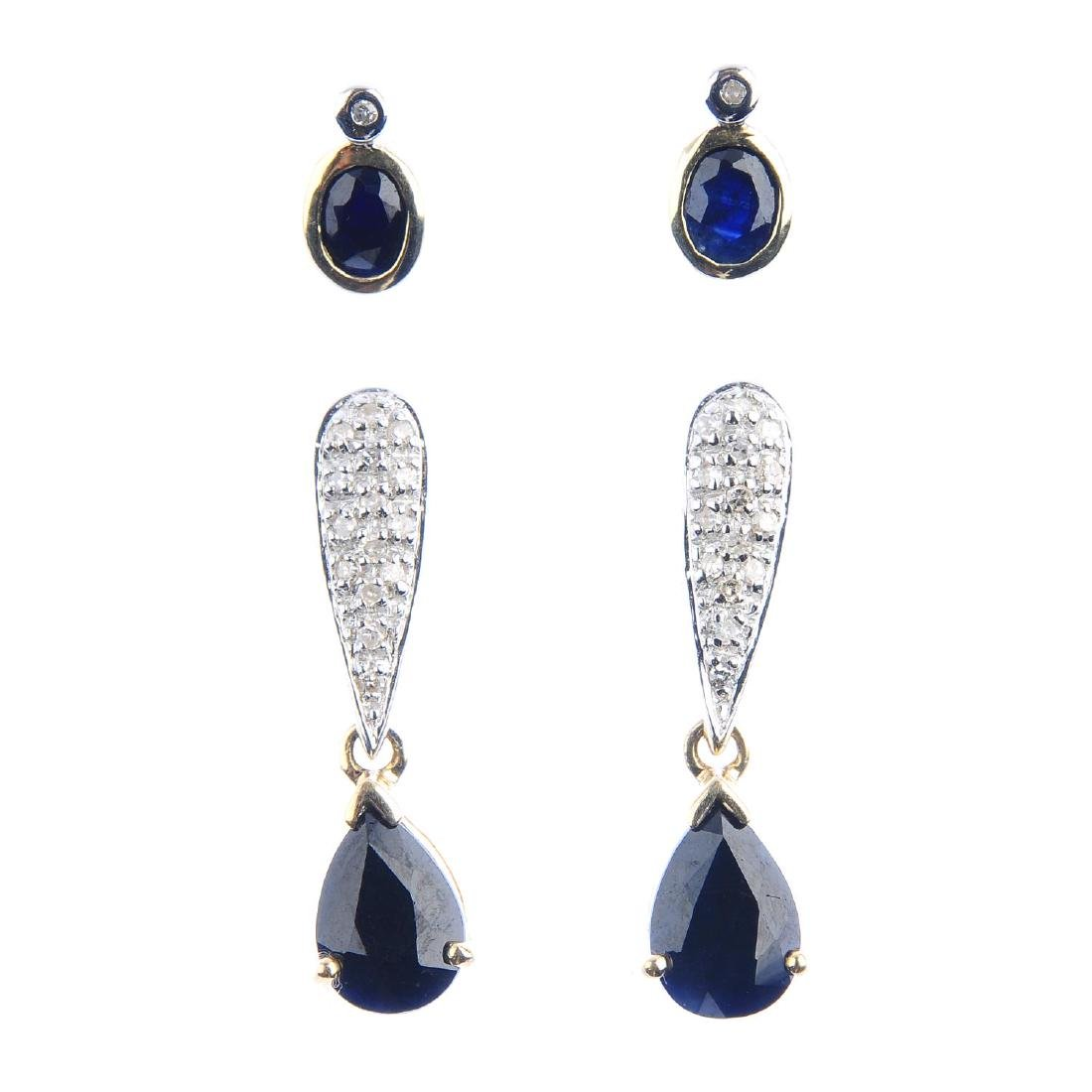Two pairs of sapphire and diamond earrings. To include