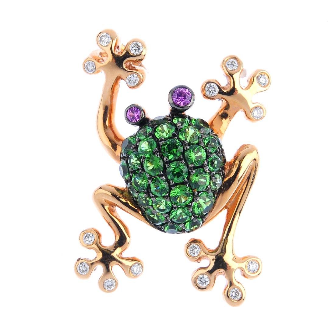 A diamond, garnet and sapphire frog pendant. The