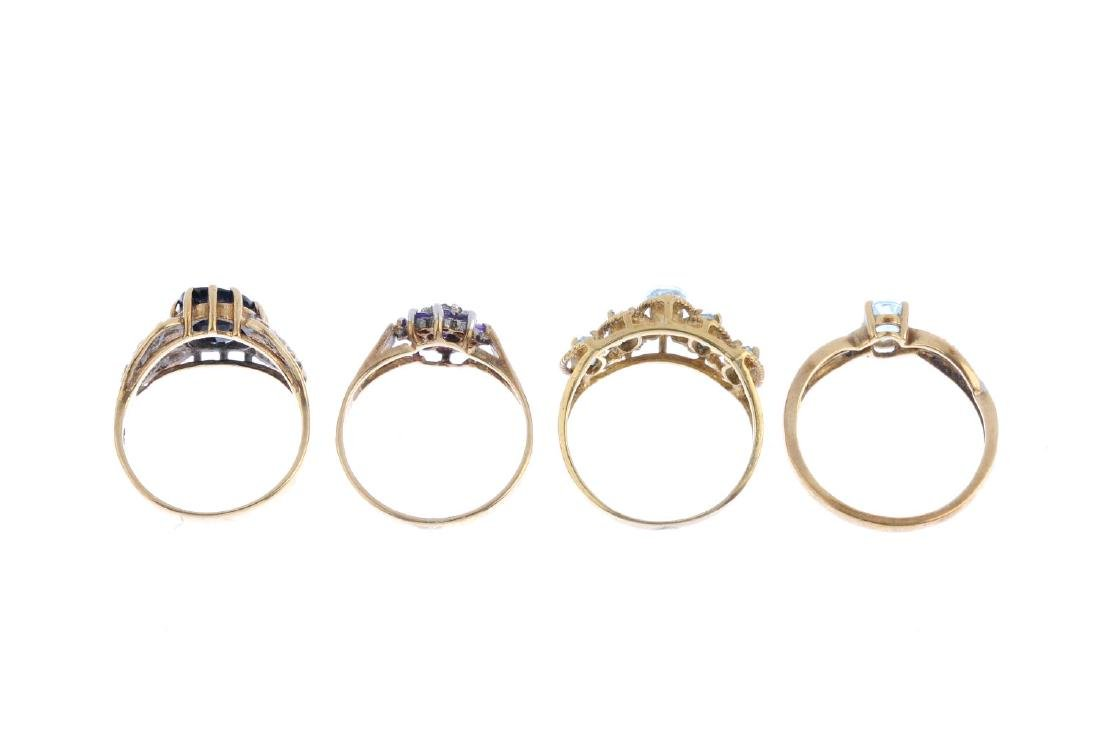 Four gem-set rings. To include a 9ct gold diamond and - 2
