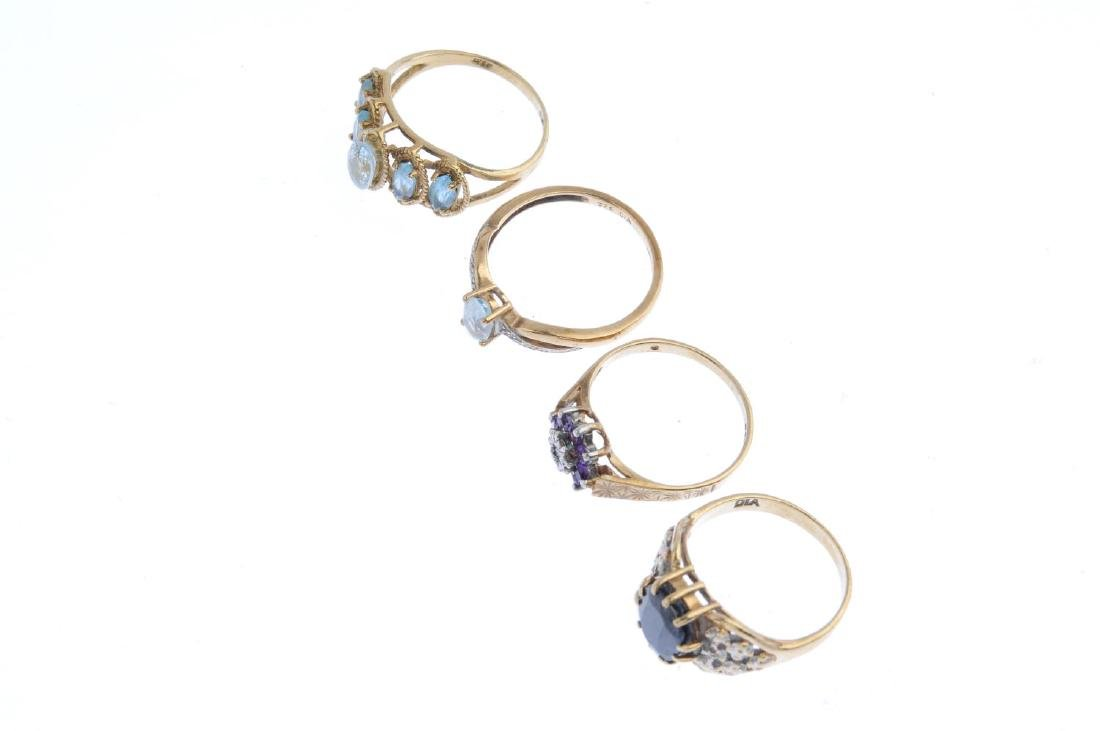 Four gem-set rings. To include a 9ct gold diamond and - 4