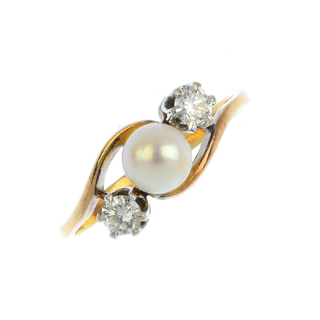A cultured pearl and diamond ring. The cultured pearl,