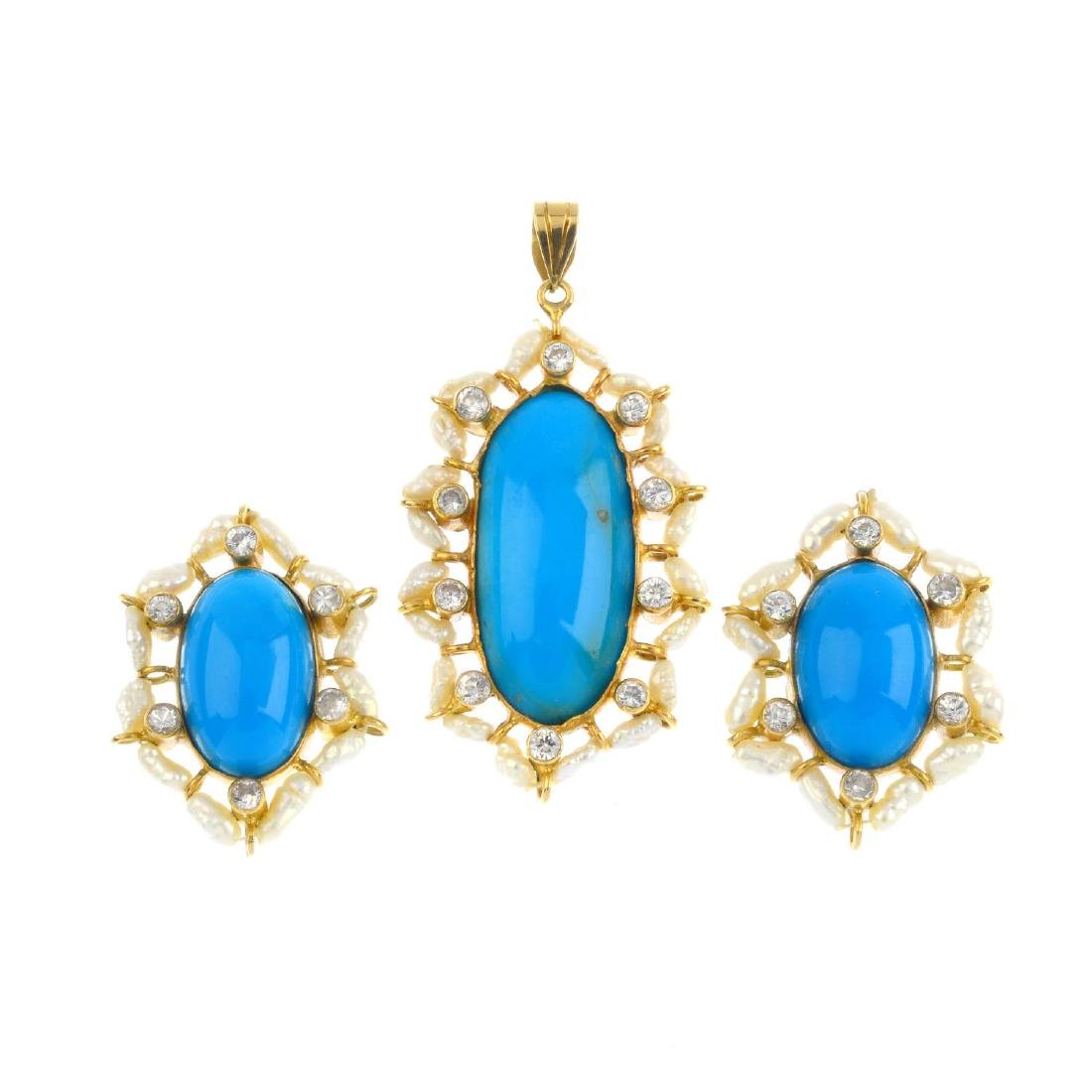 A set of turquoise, freshwater cultured pearl and paste