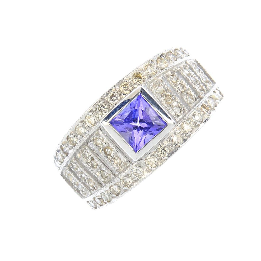 A tanzanite and diamond ring. The square-shape