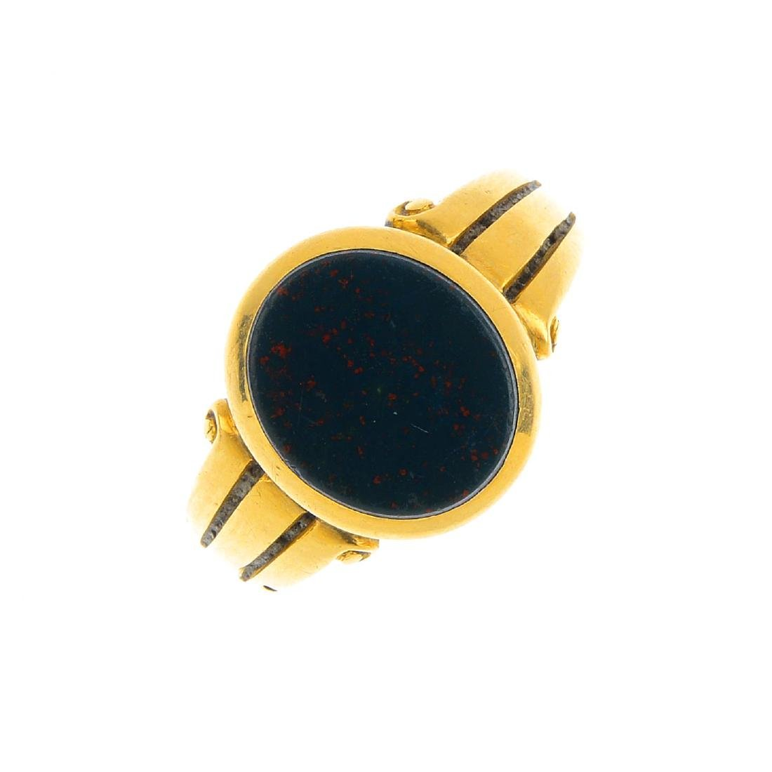A late Victorian 18ct gold bloodstone signet ring. The