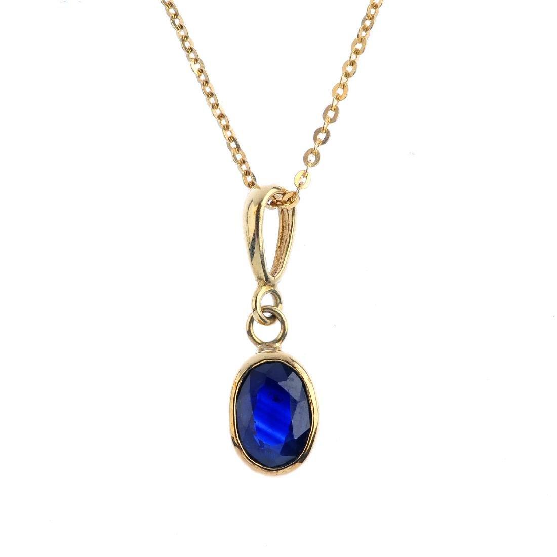 A set of sapphire jewellery. To include an oval-shape