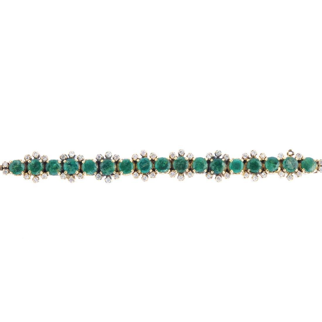 An emerald and diamond bar brooch. Designed as a series