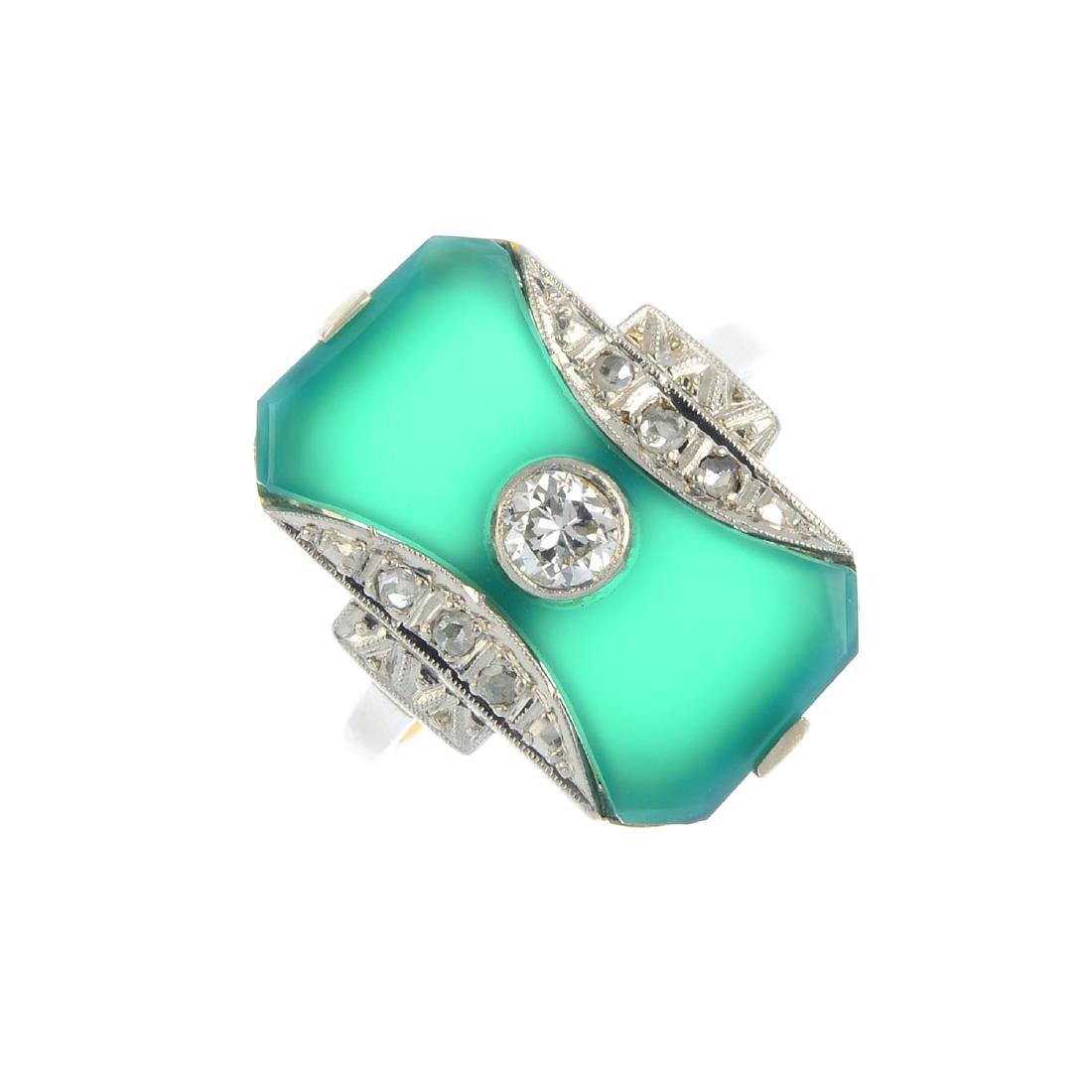 A chalcedony and diamond dress ring. Of rectangular