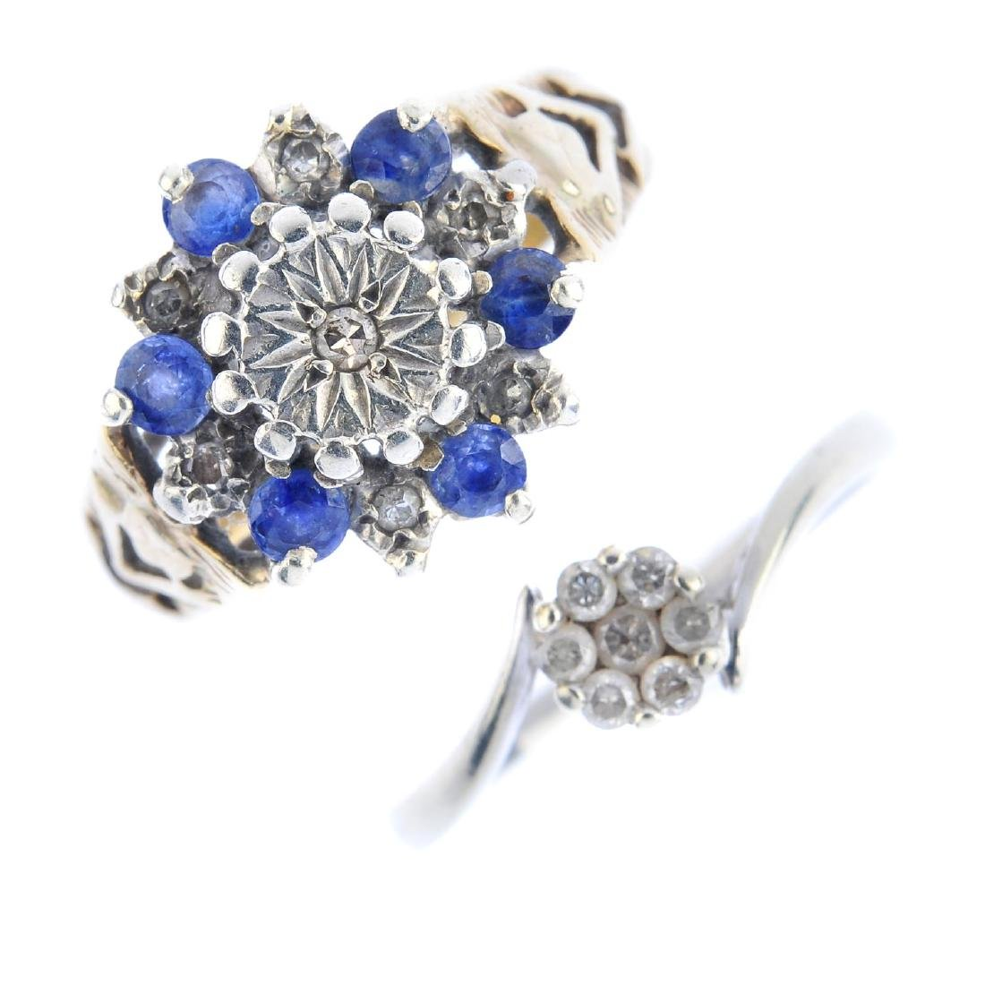 Four diamond, sapphire and amethyst rings. To include a