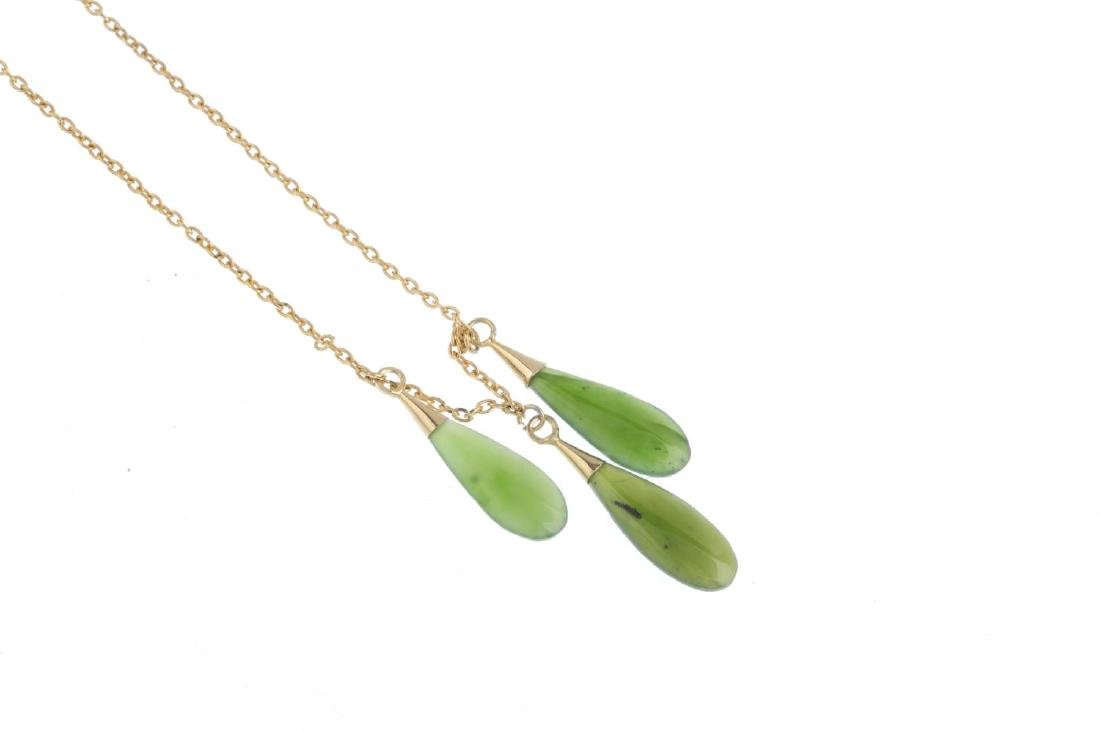 A jade necklace. Designed as three pear-shape nephrite - 2