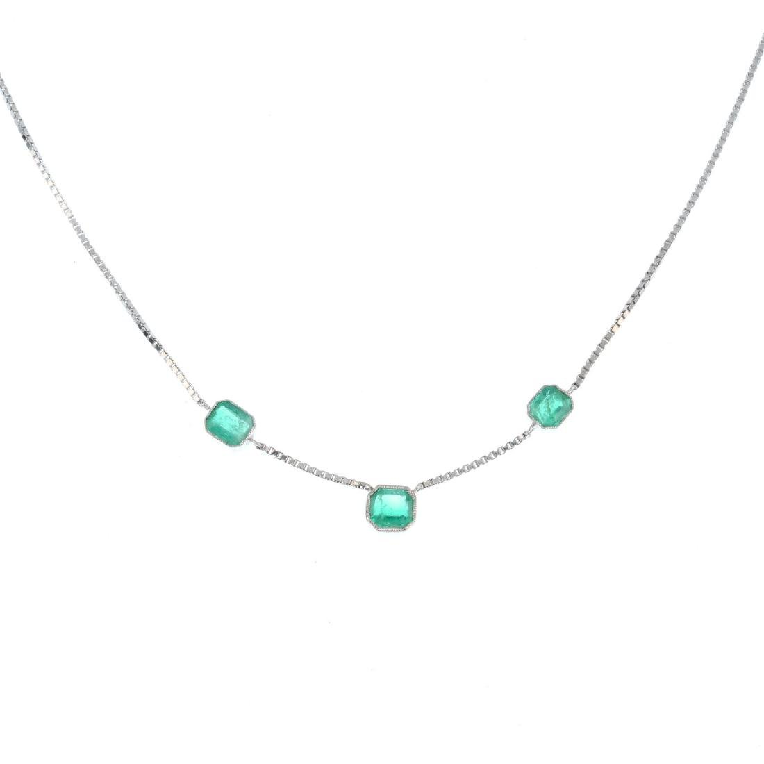 An emerald necklace. Designed as a series of