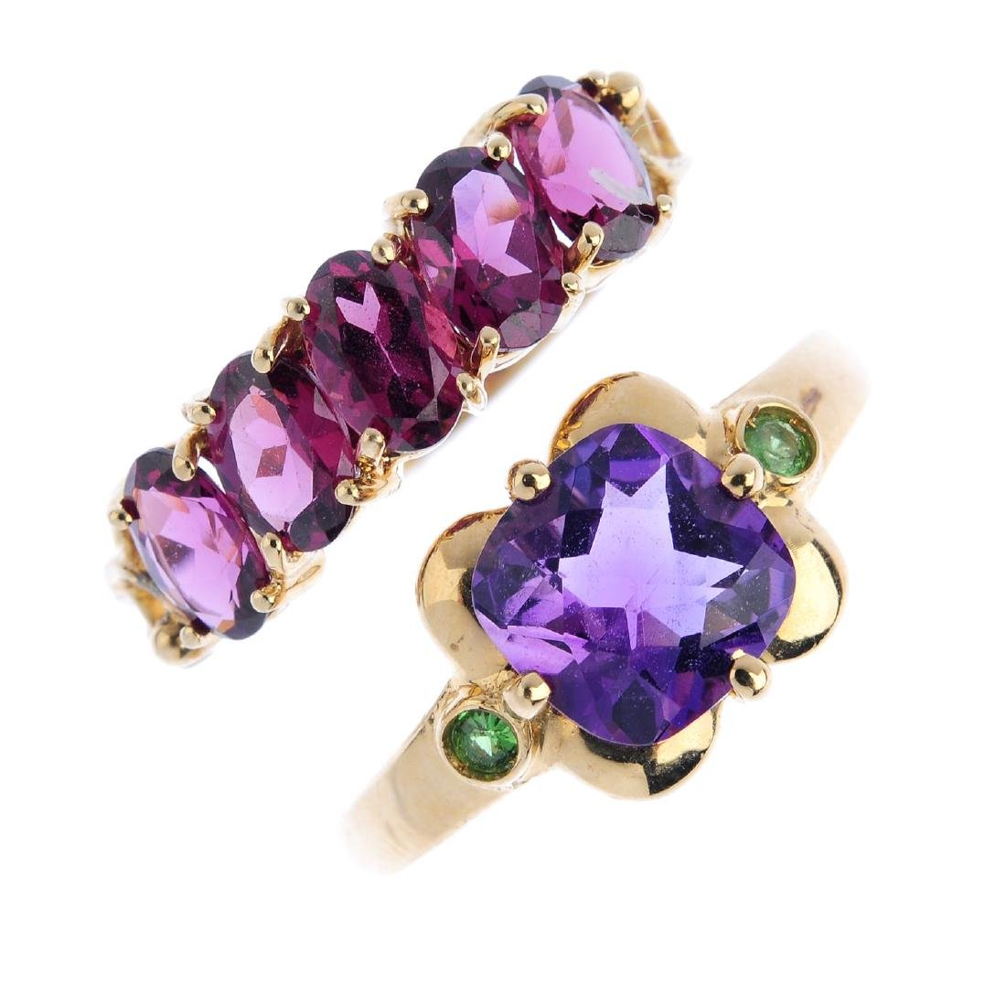 Five gem-set rings. To include a 9ct gold amethyst and