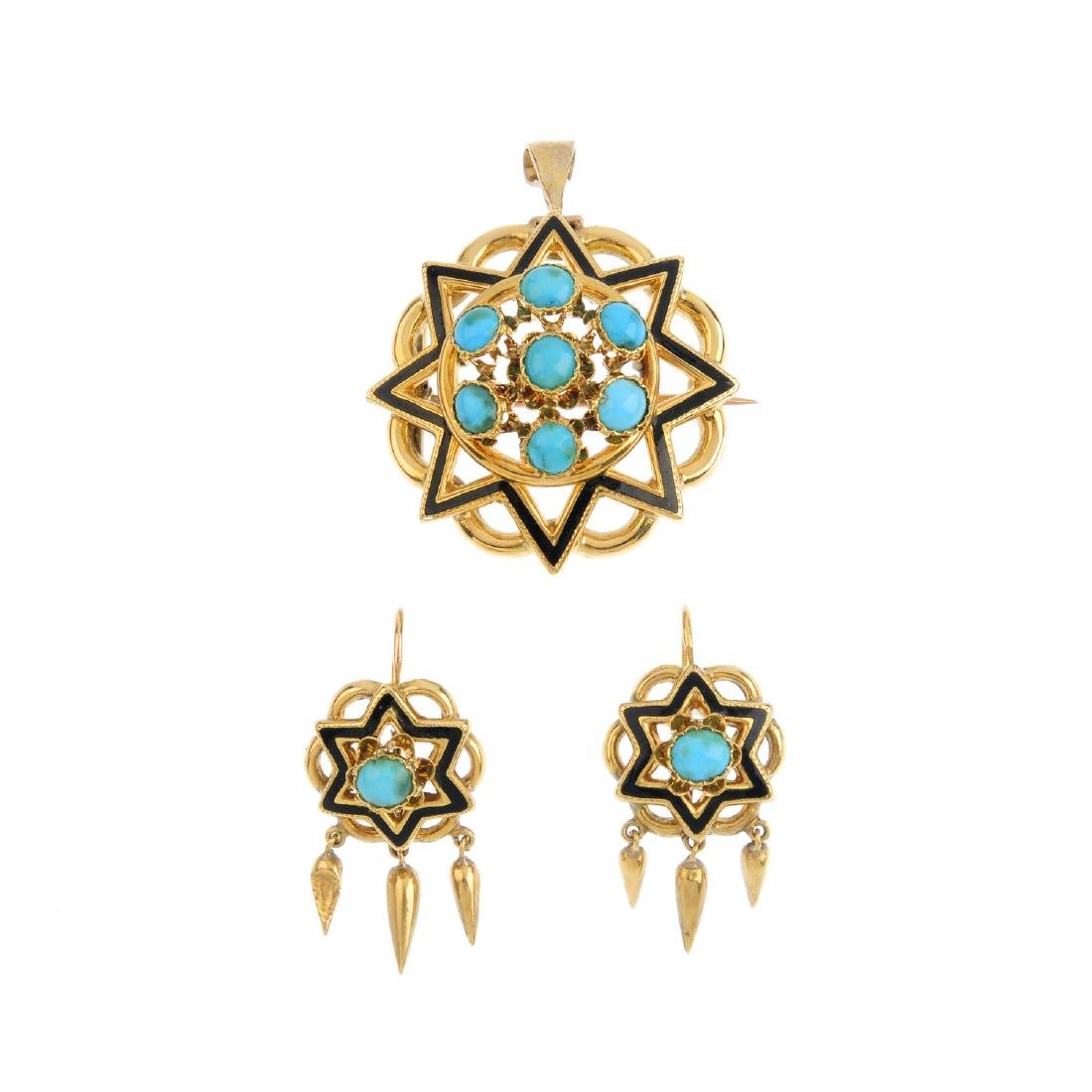 A set of turquoise and enamel jewellery. To include a