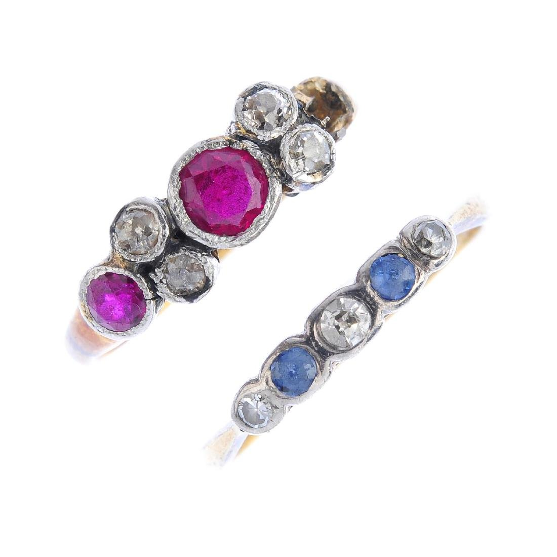 Two diamond, ruby and sapphire rings. To include an