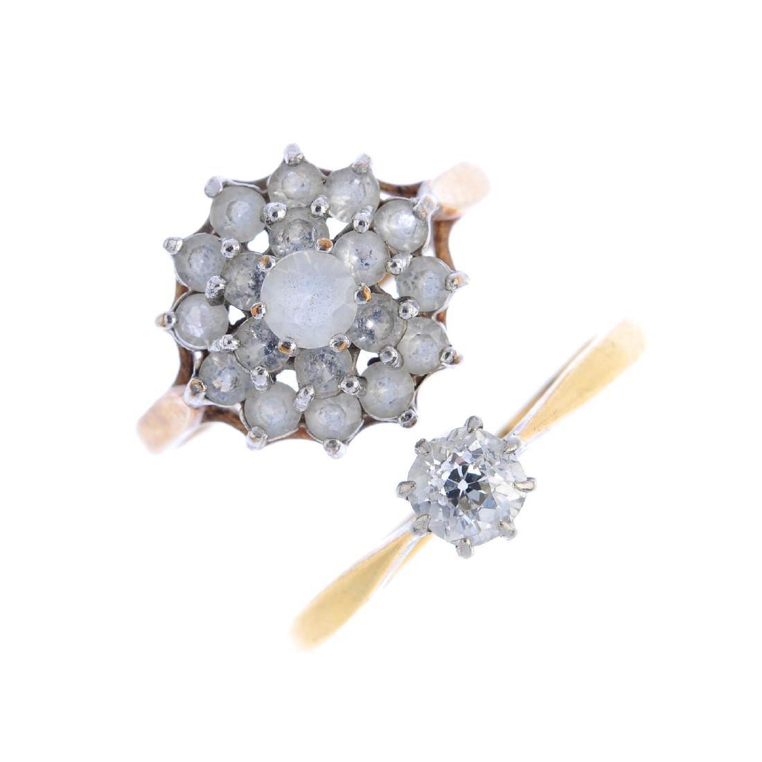 Three gem-set rings. To include a diamond single-stone