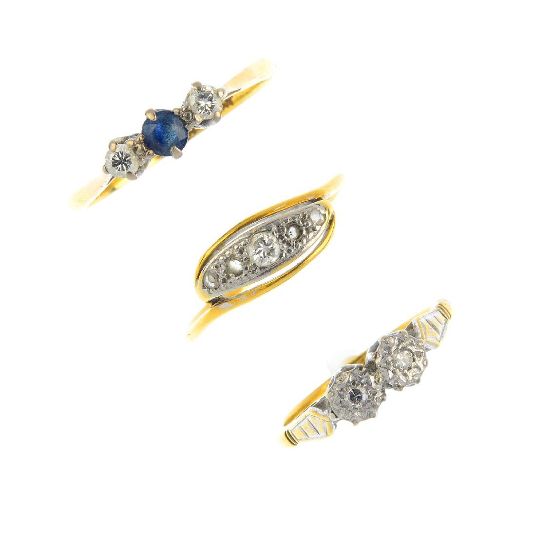 Three diamond and sapphire rings. To include a sapphire