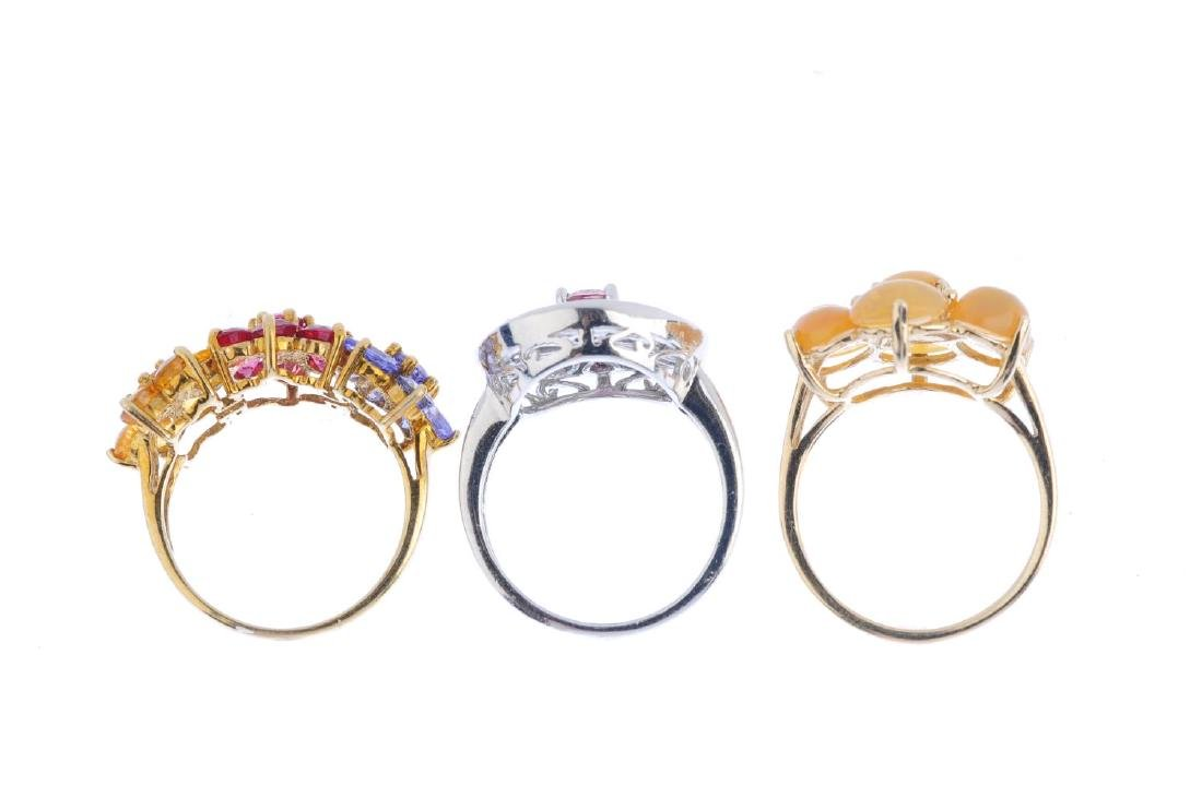 Three 9ct gold gem-set dress rings. To include a - 2