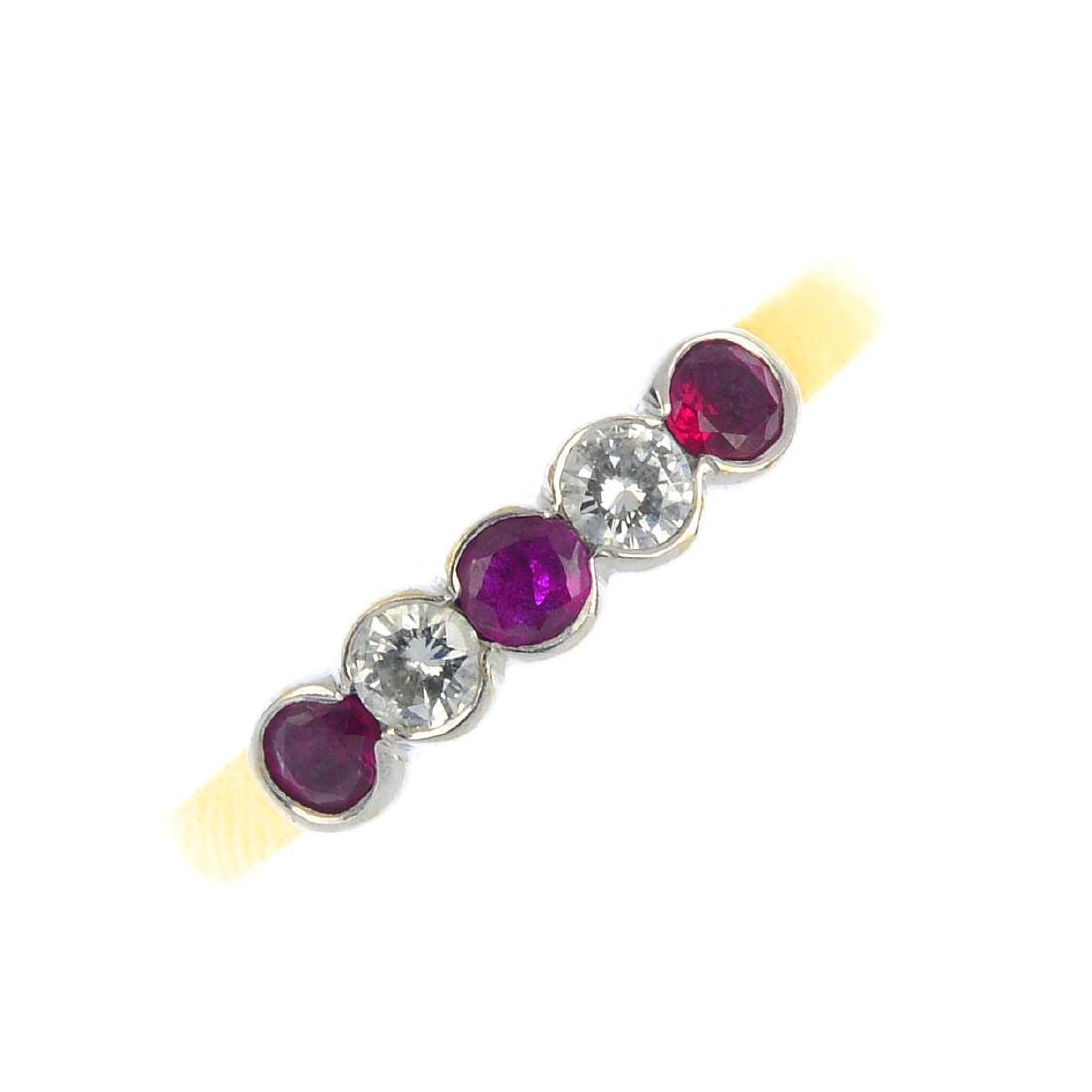 An 18ct gold ruby and diamond five-stone ring. The