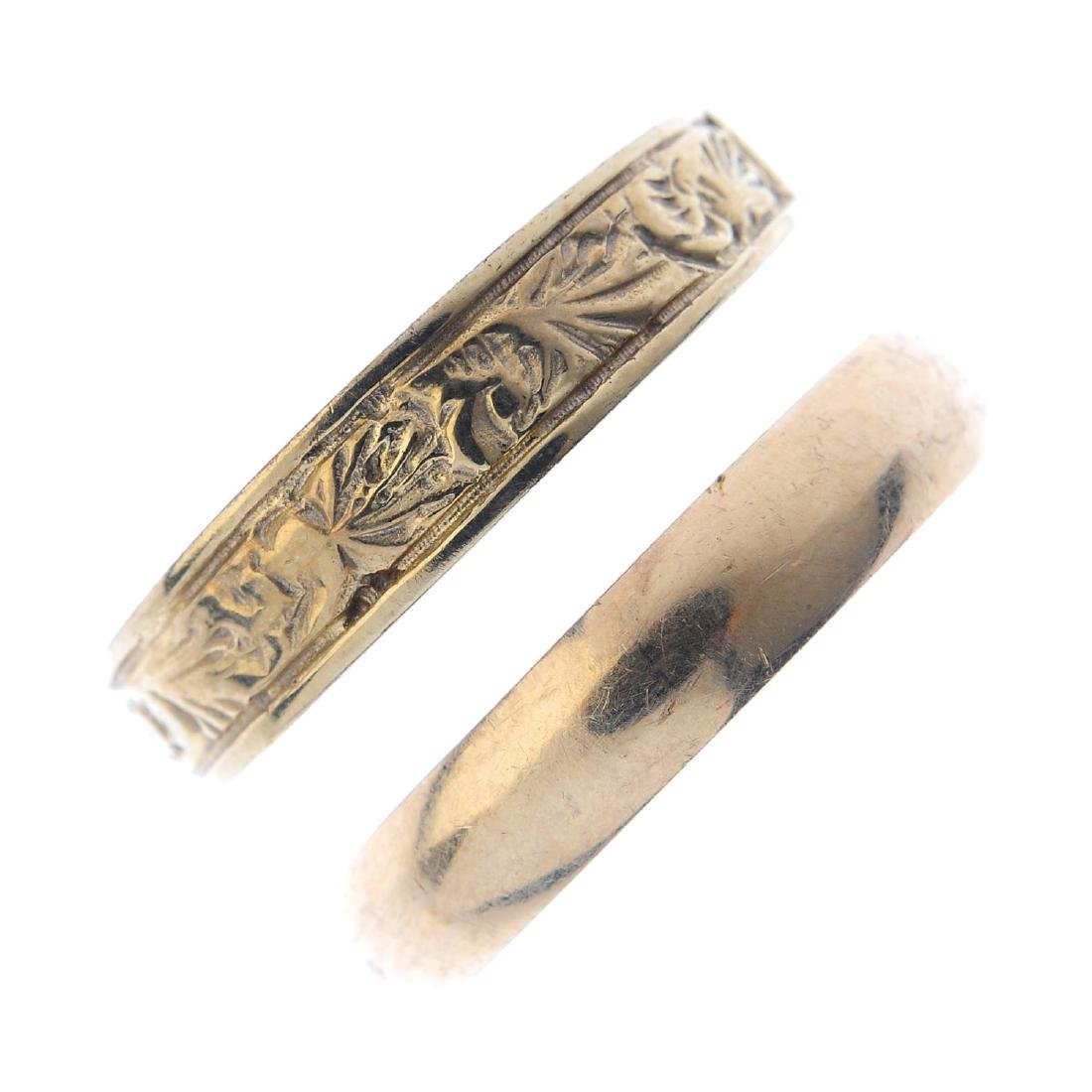 Four 9ct gold band rings. To include a 1950s band ring,