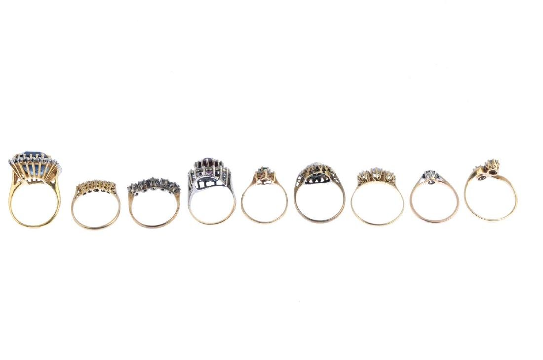 Nine gem-set rings. To include a 9ct gold cubic - 2