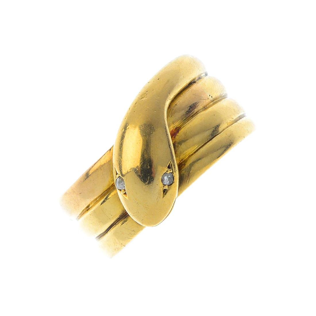 A late Victorian 15ct gold diamond snake ring. The