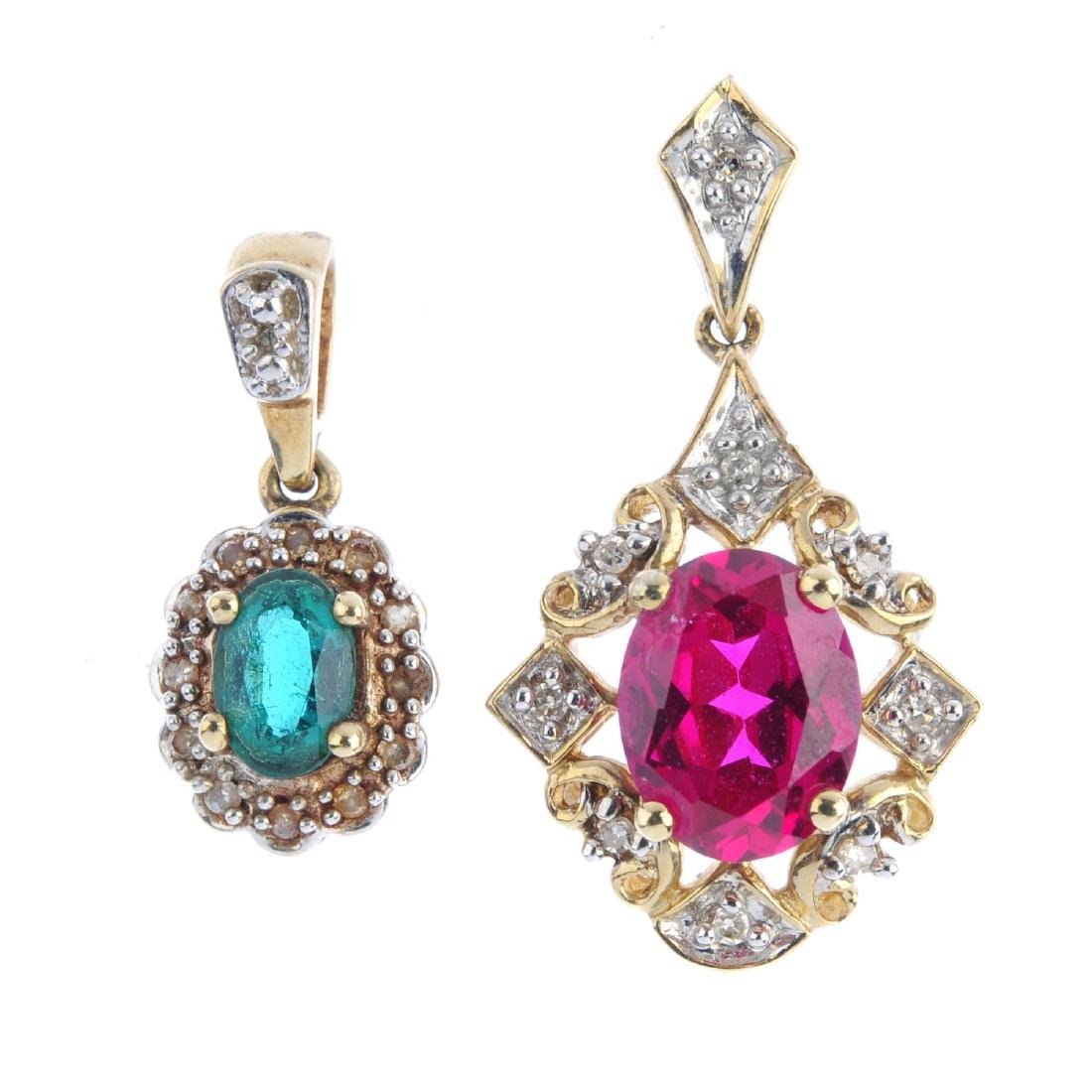 A selection of diamond and gem-set pendants. To include