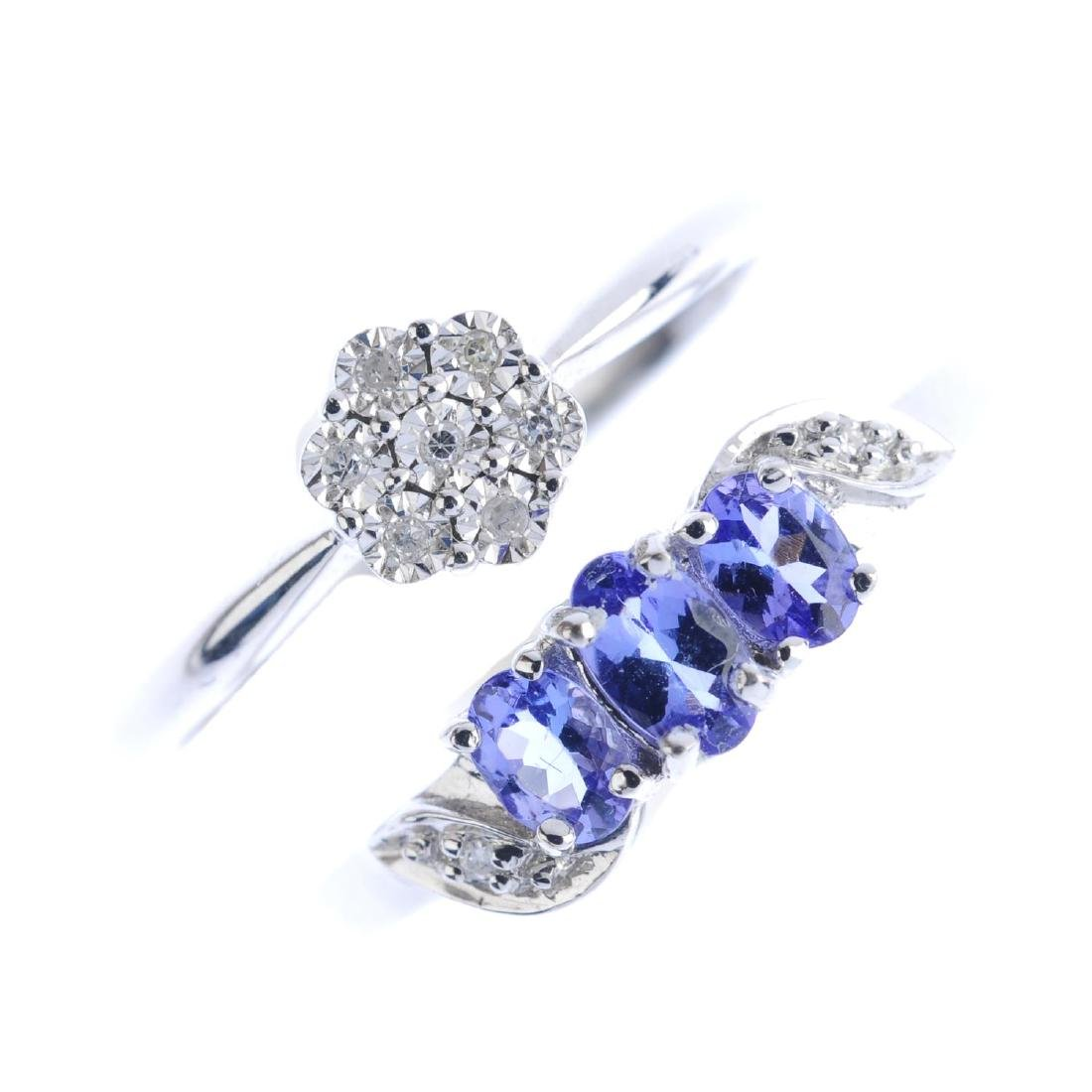 Three 9ct gold diamond and tanzanite rings. To include