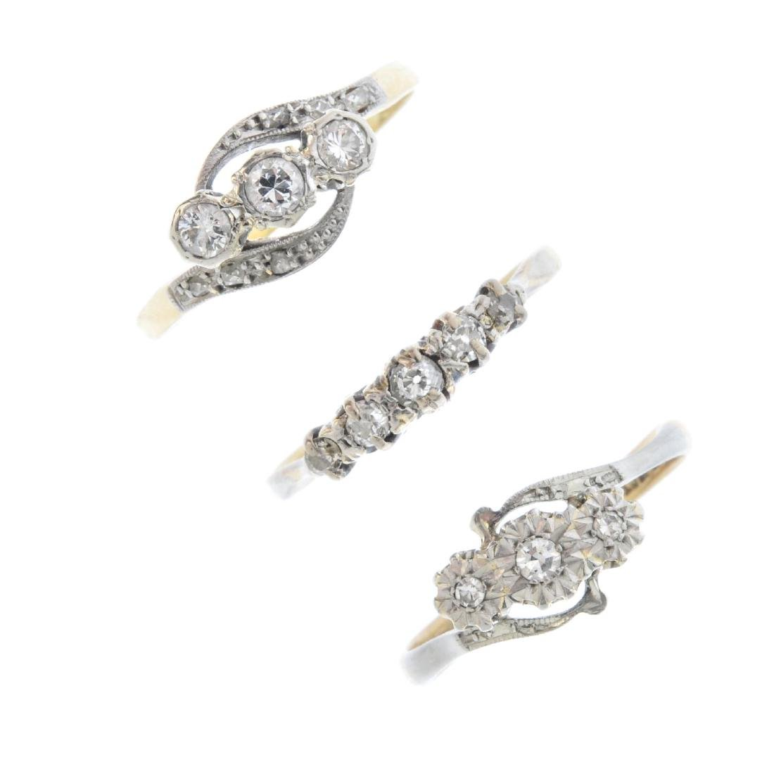 Three mid 20th century gold diamond rings. To include a