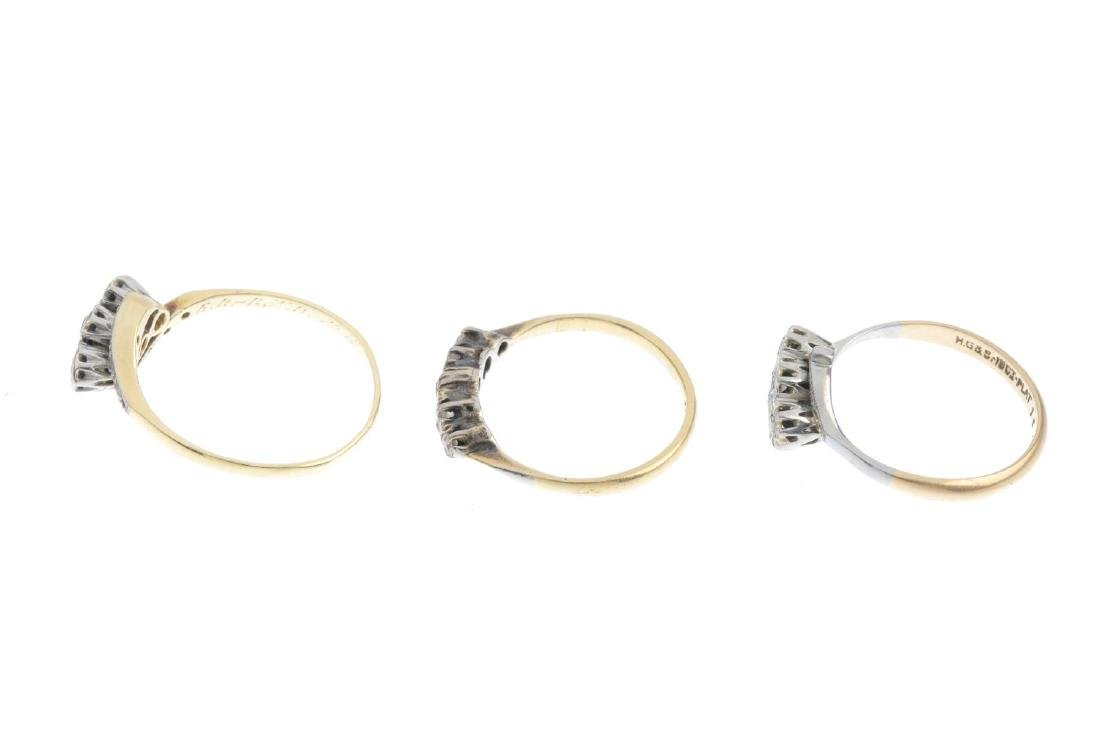 Three mid 20th century gold diamond rings. To include a - 2