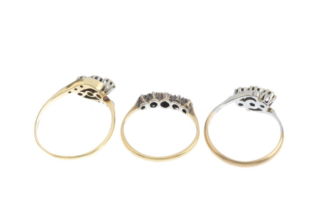 Three mid 20th century gold diamond rings. To include a - 3