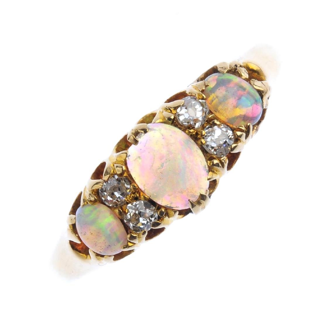 An early 20th century 18ct gold opal and diamond