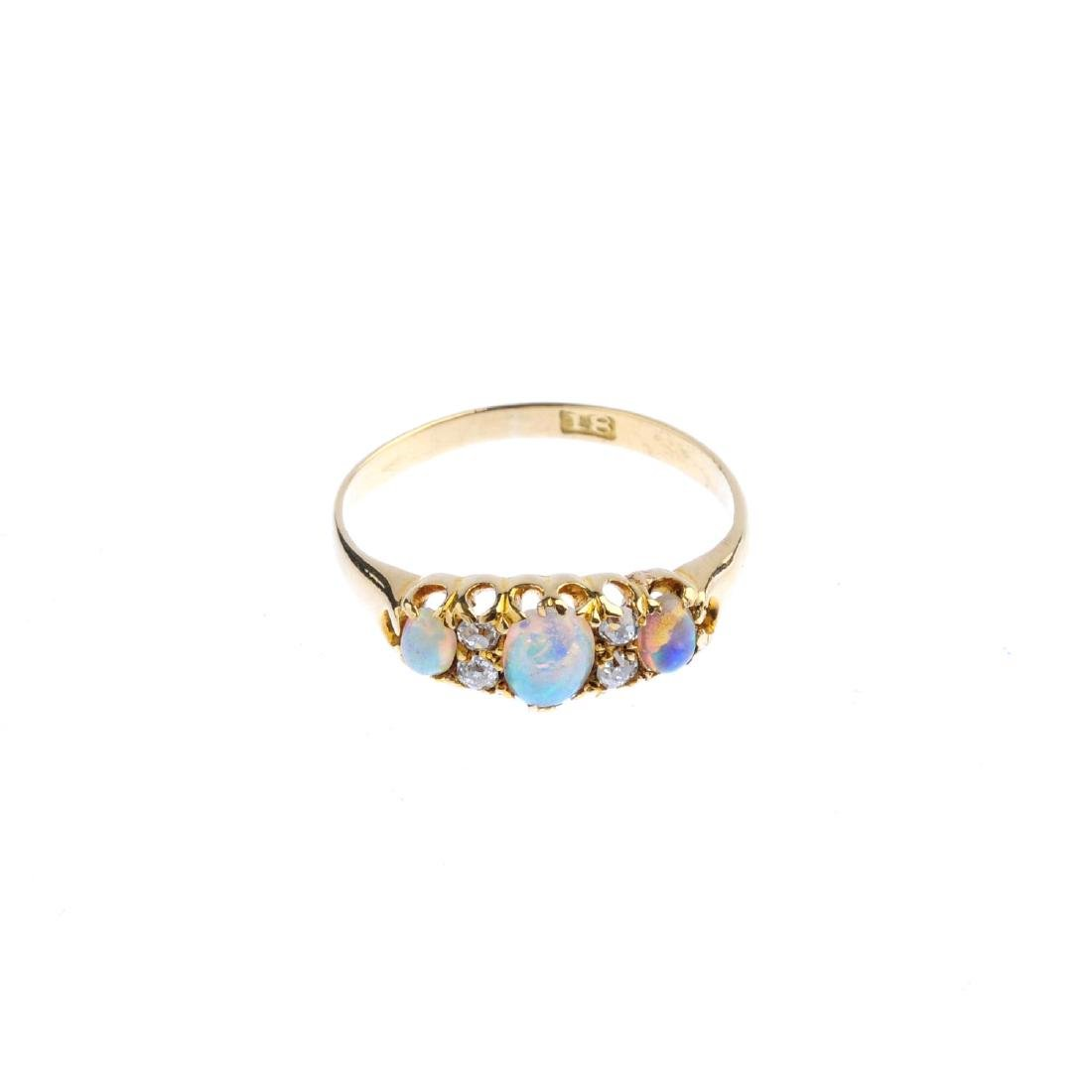 An early 20th century 18ct gold opal and diamond - 5