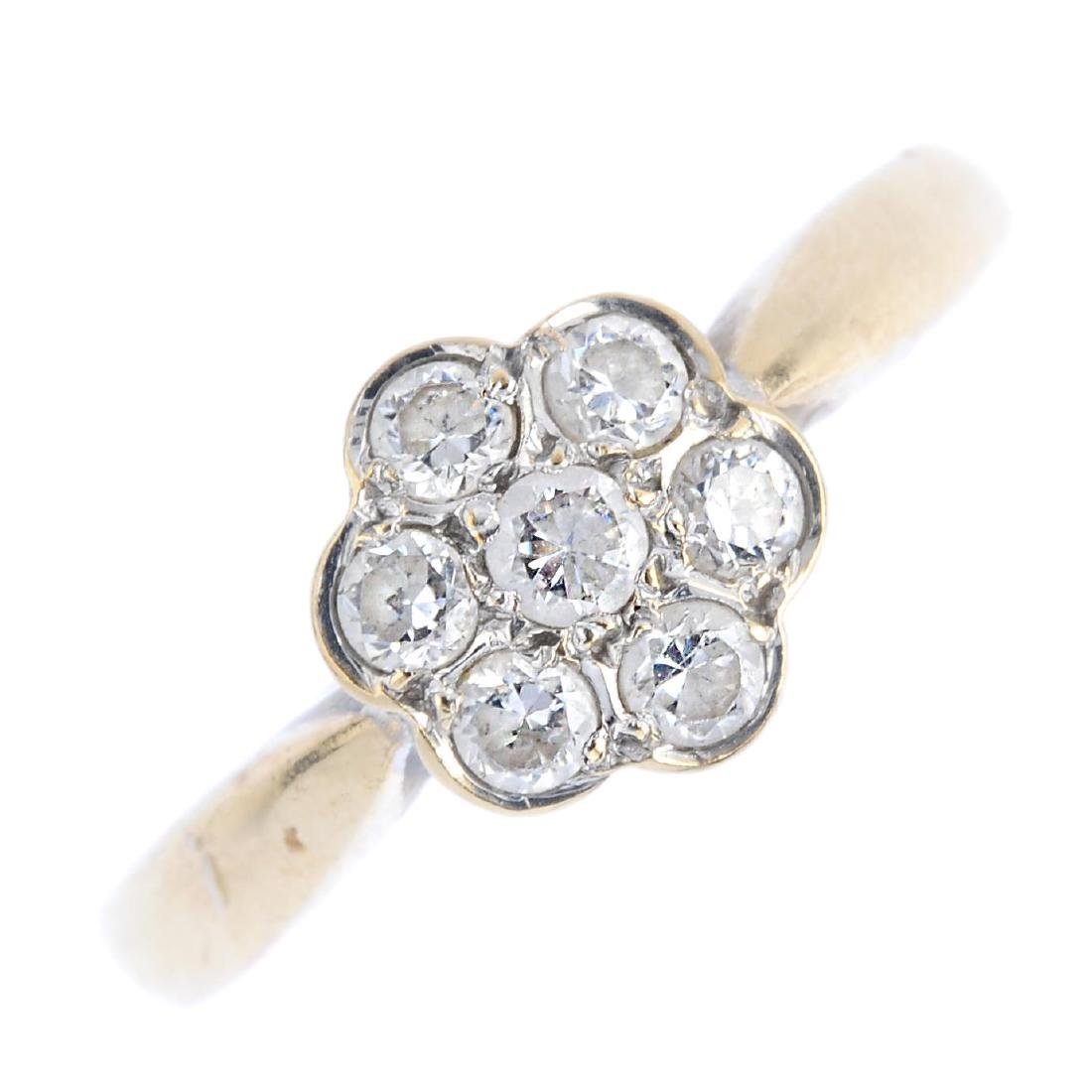 A 9ct gold cubic zirconia cluster ring. The