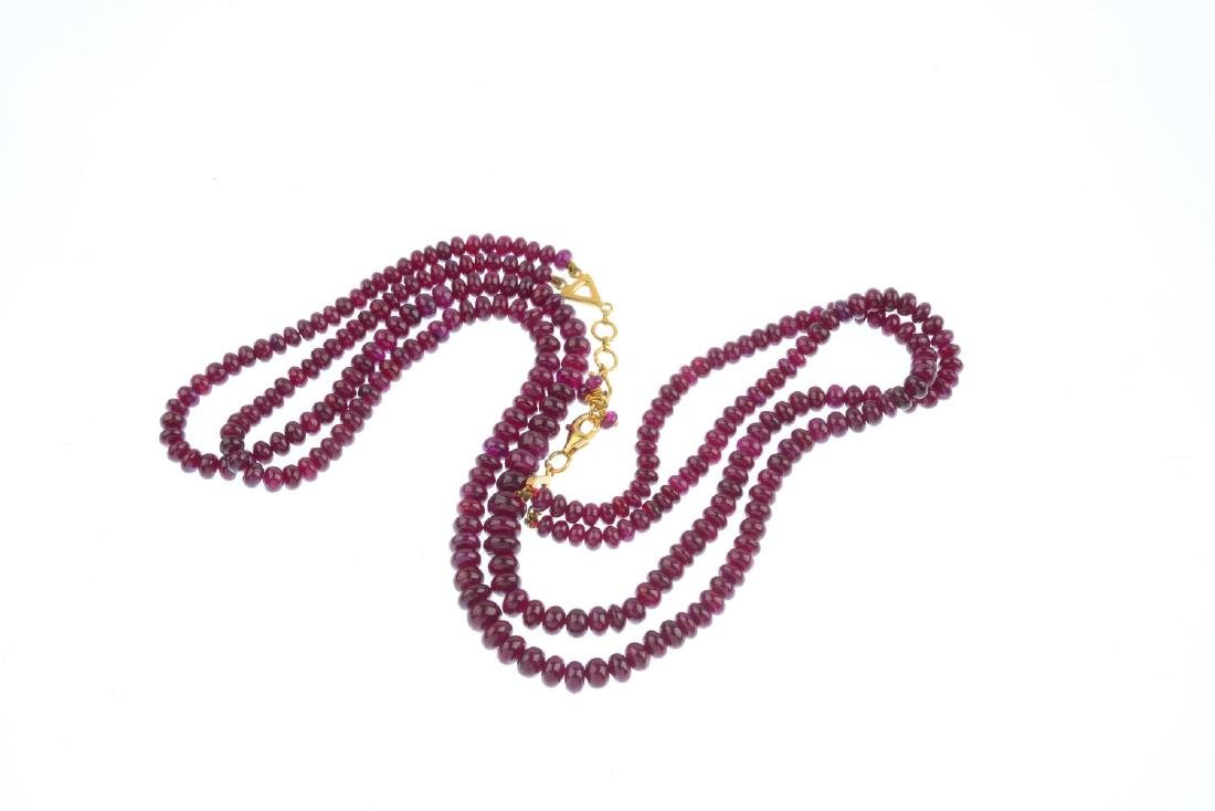 A ruby two-row necklace. Comprising two-row of - 2