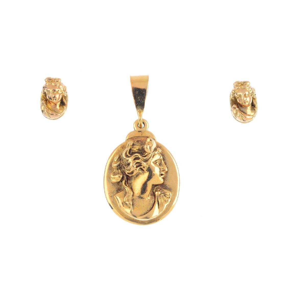 Three items of cameo jewellery. To include a 9ct gold