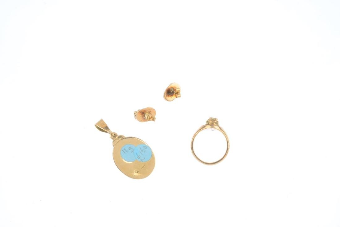 Three items of cameo jewellery. To include a 9ct gold - 2