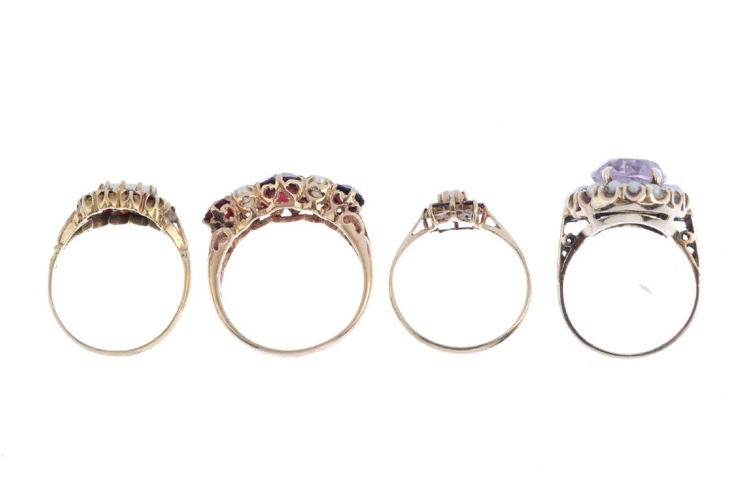 Four gem-set rings. To include a 9ct gold amethyst and - 2