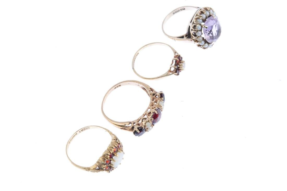 Four gem-set rings. To include a 9ct gold amethyst and - 3