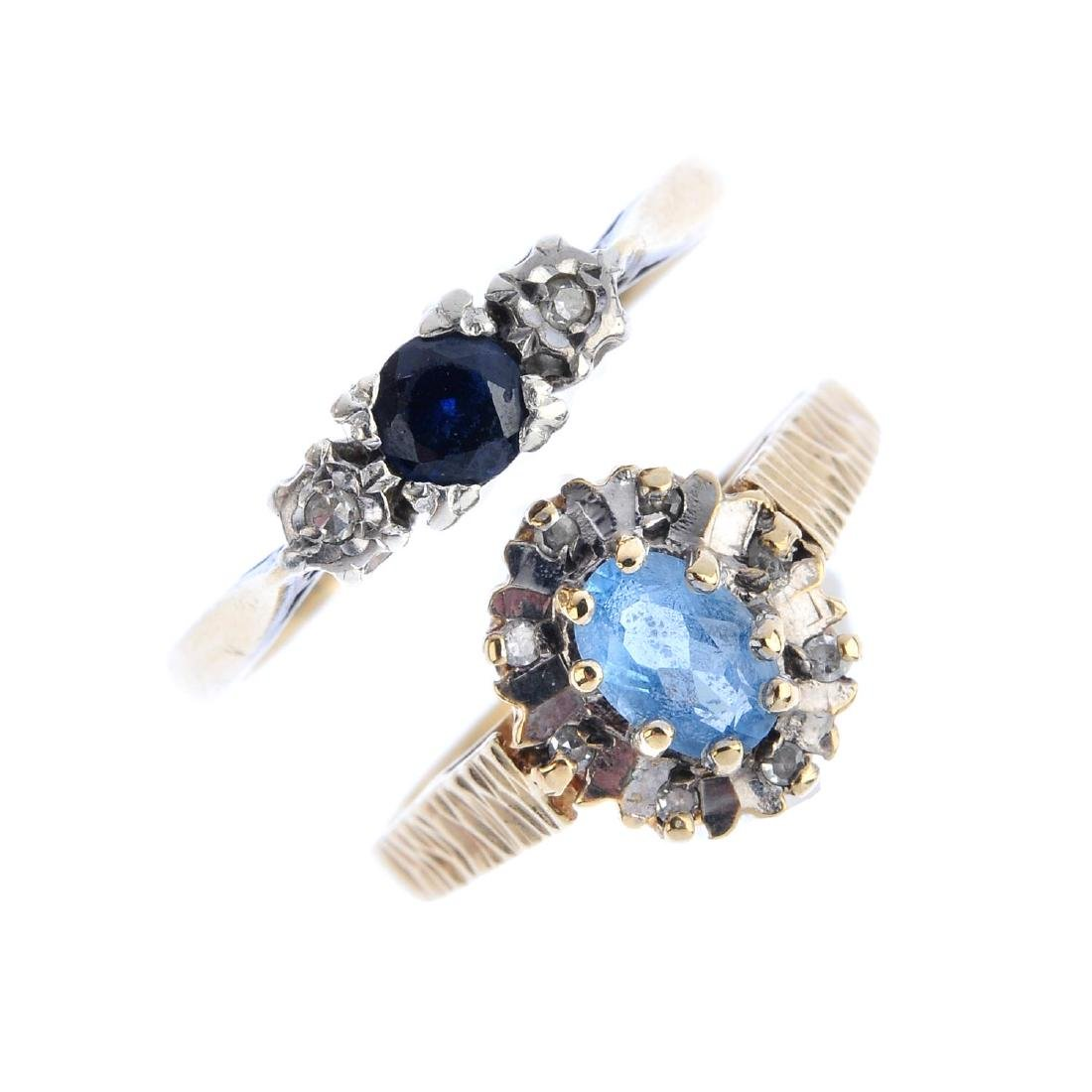 Four 9ct gold gem-set rings. To include a sapphire and