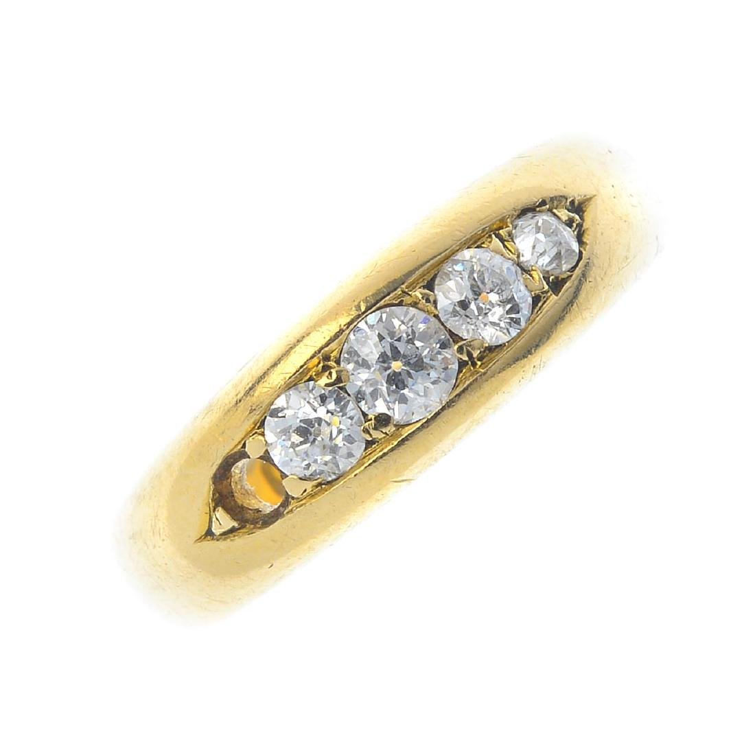 An Edwardian 18ct gold diamond five-stone ring. The