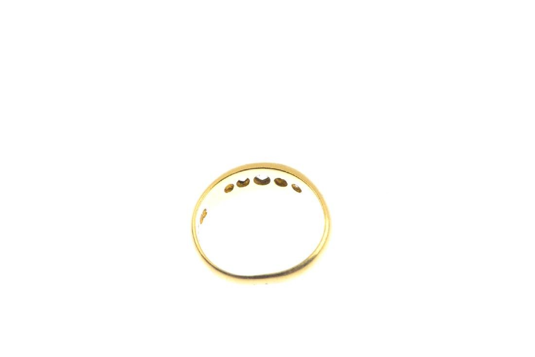 An Edwardian 18ct gold diamond five-stone ring. The - 3